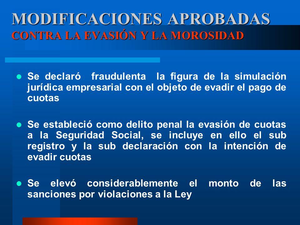 Se declaró fraudulenta la figura de la simulación jurídica empresarial con el objeto de evadir el pago de cuotas Se estableció como delito penal la ev