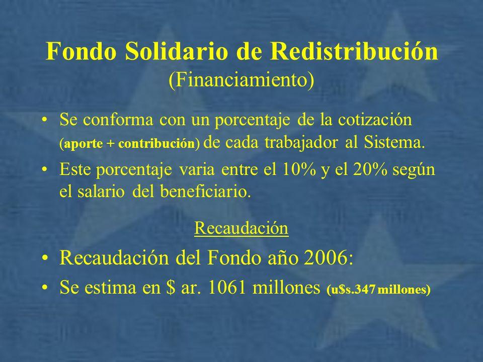 Fondo Solidario de Redistribución (Financiamiento) Se conforma con un porcentaje de la cotización (aporte + contribución) de cada trabajador al Sistem