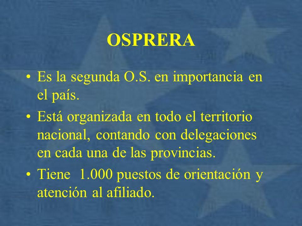 OSPRERA Es la segunda O.S. en importancia en el país. Está organizada en todo el territorio nacional, contando con delegaciones en cada una de las pro