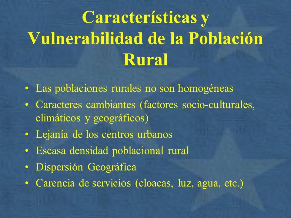 Características y Vulnerabilidad de la Población Rural Las poblaciones rurales no son homogéneas Caracteres cambiantes (factores socio-culturales, cli