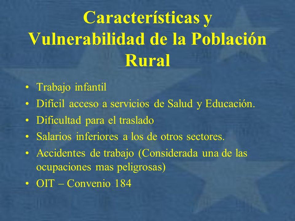 Características y Vulnerabilidad de la Población Rural Trabajo infantil Difícil acceso a servicios de Salud y Educación. Dificultad para el traslado S