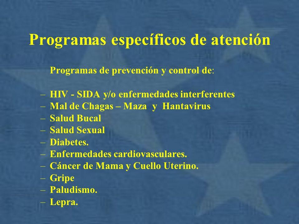 Programas específicos de atención Programas de prevención y control de: –HIV - SIDA y/o enfermedades interferentes –Mal de Chagas – Maza y Hantavirus