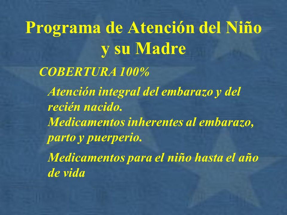 Programa de Atención del Niño y su Madre COBERTURA 100% Atención integral del embarazo y del recién nacido. Medicamentos inherentes al embarazo, parto