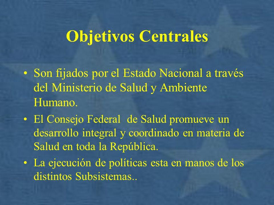 Objetivos Centrales Son fijados por el Estado Nacional a través del Ministerio de Salud y Ambiente Humano. El Consejo Federal de Salud promueve un des