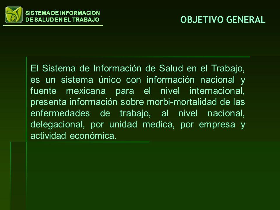 SISTEMA DE INFORMACION DE SALUD EN EL TRABAJO OBJETIVO GENERAL El Sistema de Información de Salud en el Trabajo, es un sistema único con información n