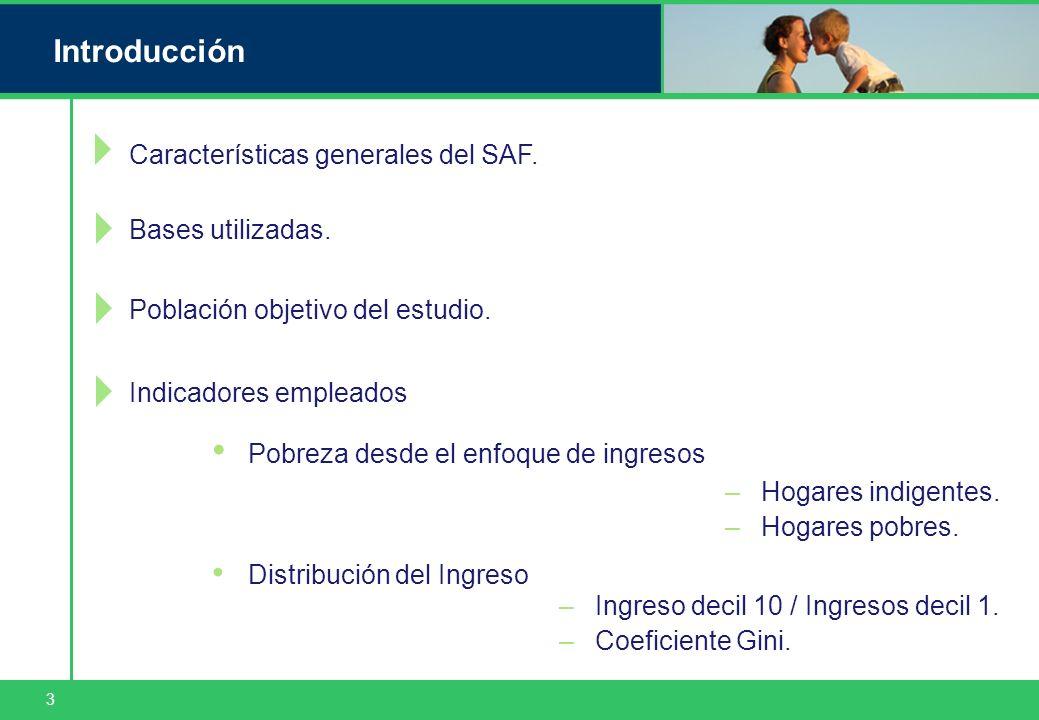 3 Introducción Características generales del SAF. Bases utilizadas. Distribución del Ingreso Pobreza desde el enfoque de ingresos –Hogares indigentes.