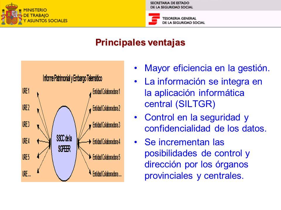 Principales ventajas Mayor eficiencia en la gestión. La información se integra en la aplicación informática central (SILTGR) Control en la seguridad y