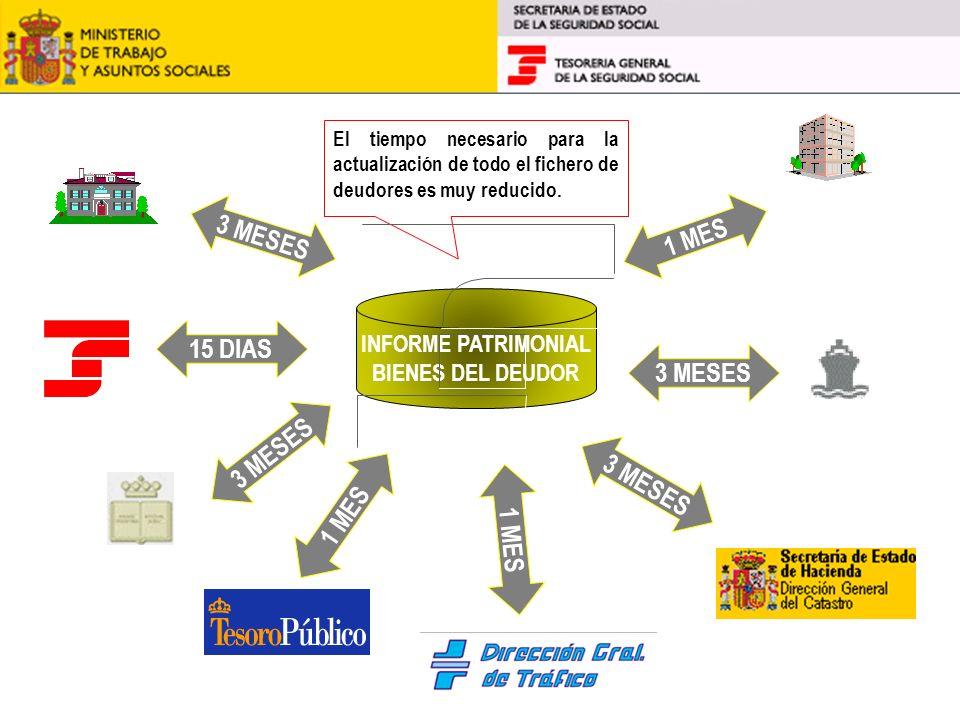 INFORME PATRIMONIAL BIENES DEL DEUDOR Ayuntamientos Servicio de Índices Entidades financieras DIR. GRAL MARINA MERCANTE TGSS 3 MESES 1 MES 3 MESES 15
