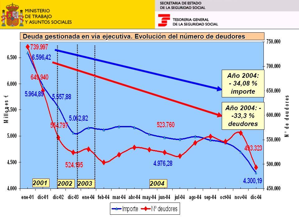 2001 20022003 Año 2004: - 34,08 % importe Deuda gestionada en vía ejecutiva. Evolución del número de deudores Año 2004: - -33,3 % deudores 2004