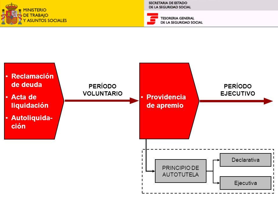 Reclamación de deuda Acta de liquidación Autoliquida- ción Providencia de apremio PERÍODO VOLUNTARIO PERÍODO EJECUTIVO PRINCIPIO DE AUTOTUTELA Declara