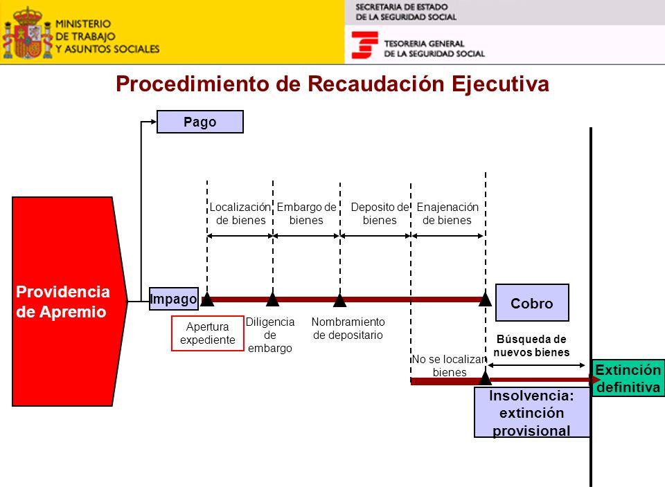 Procedimiento de Recaudación Ejecutiva Providencia de Apremio Pago Apertura expediente Diligencia de embargo Localización de bienes Enajenación de bie
