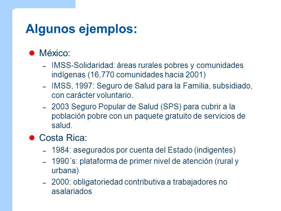 Algunos ejemplos: México: – IMSS-Solidaridad: áreas rurales pobres y comunidades indígenas (16,770 comunidades hacia 2001) – IMSS, 1997: Seguro de Sal