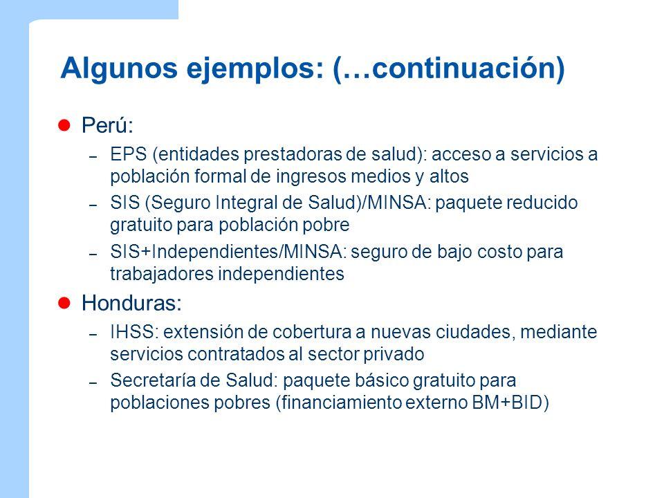 Algunos ejemplos: (…continuación) Perú: – EPS (entidades prestadoras de salud): acceso a servicios a población formal de ingresos medios y altos – SIS