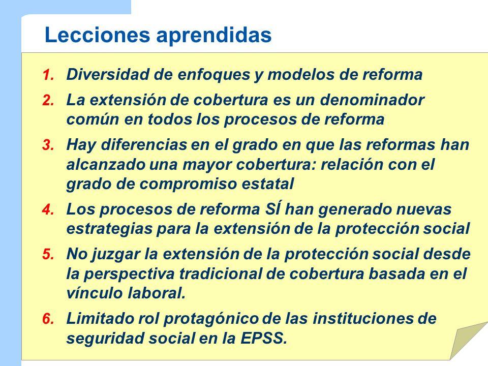 Lecciones aprendidas 1. Diversidad de enfoques y modelos de reforma 2. La extensión de cobertura es un denominador común en todos los procesos de refo