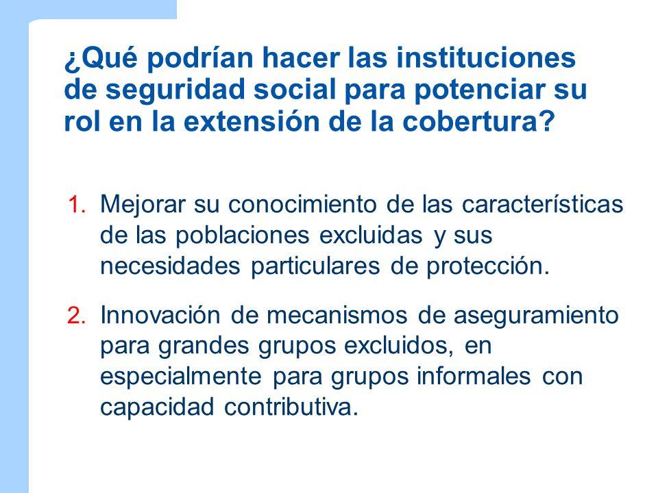 ¿Qué podrían hacer las instituciones de seguridad social para potenciar su rol en la extensión de la cobertura? 1. Mejorar su conocimiento de las cara