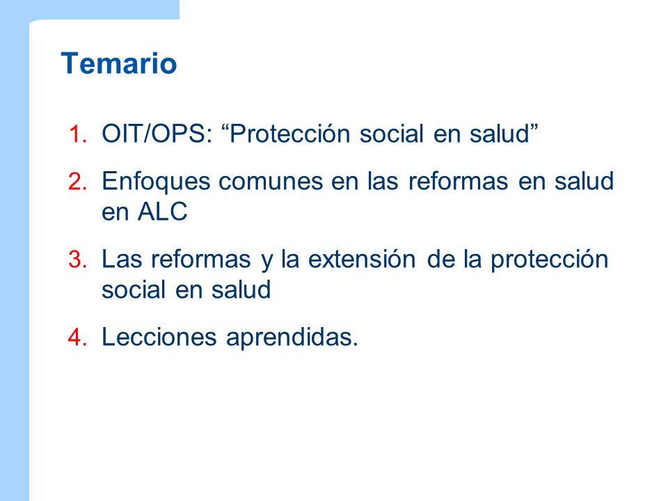 Temario 1. OIT/OPS: Protección social en salud 2. Enfoques comunes en las reformas en salud en ALC 3. Las reformas y la extensión de la protección soc