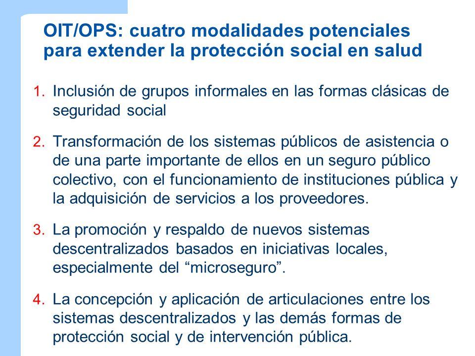 OIT/OPS: cuatro modalidades potenciales para extender la protección social en salud 1. Inclusión de grupos informales en las formas clásicas de seguri