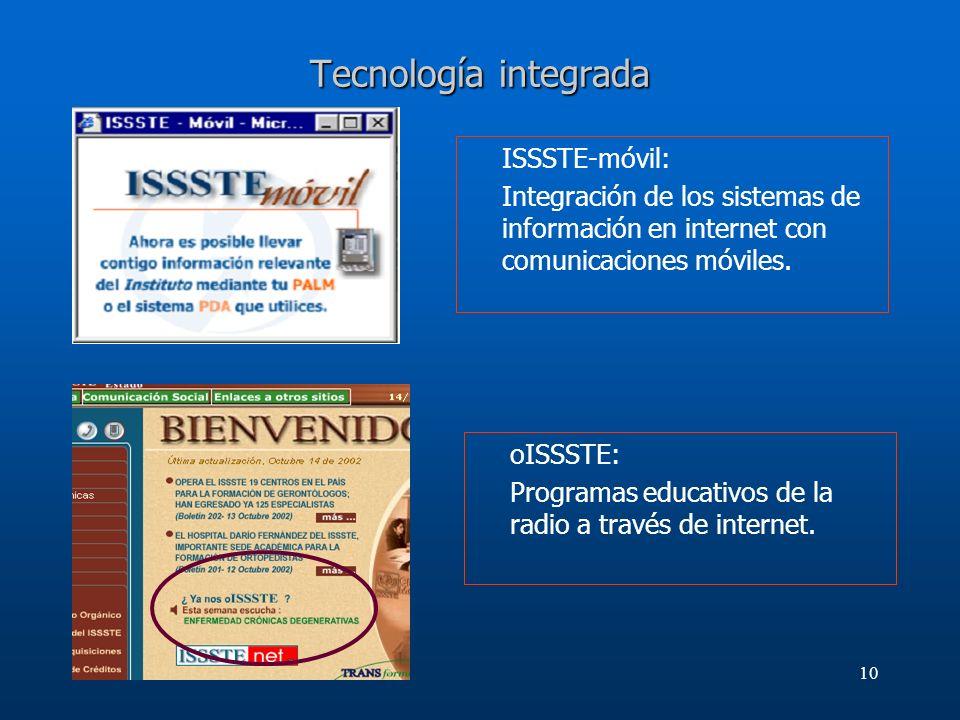 10 Tecnología integrada ISSSTE-móvil: Integración de los sistemas de información en internet con comunicaciones móviles. oISSSTE: Programas educativos