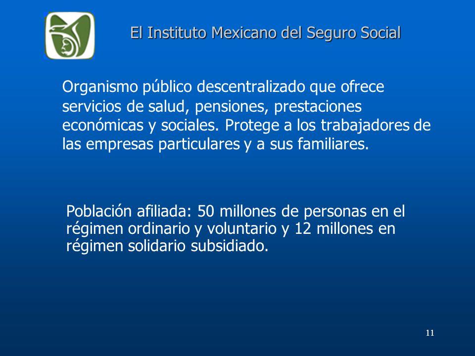 11 El Instituto Mexicano del Seguro Social Organismo público descentralizado que ofrece servicios de salud, pensiones, prestaciones económicas y socia