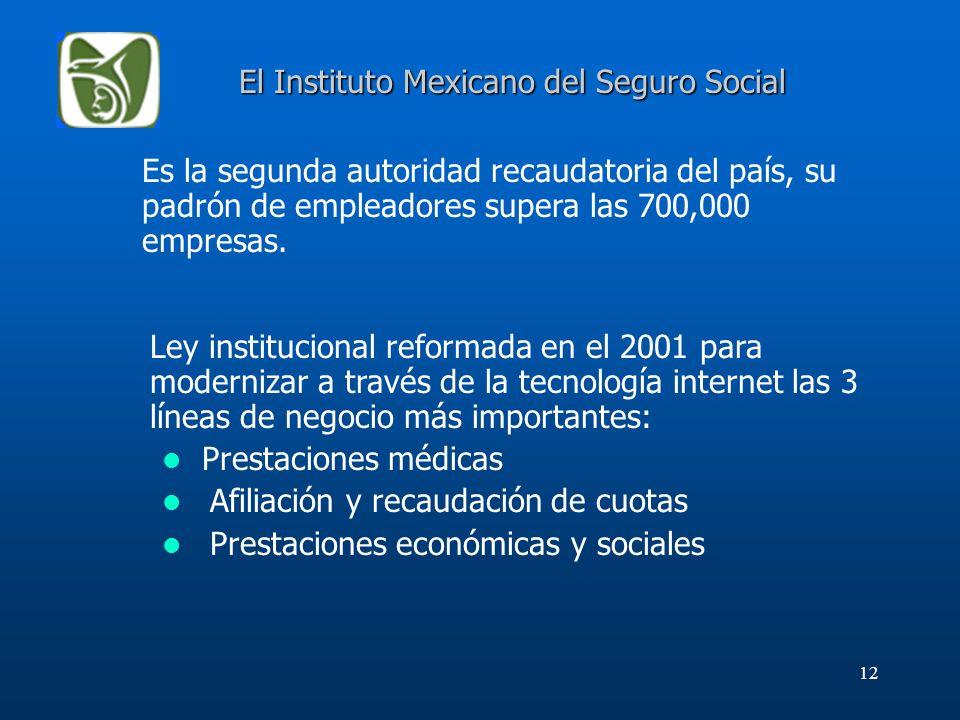 12 Es la segunda autoridad recaudatoria del país, su padrón de empleadores supera las 700,000 empresas. El Instituto Mexicano del Seguro Social Ley in