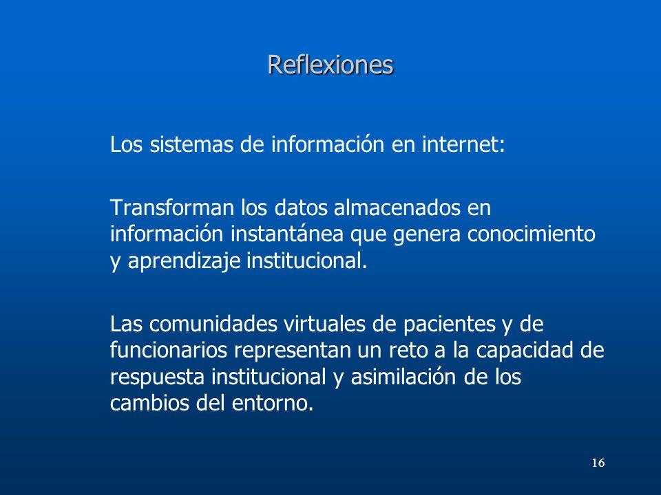16 Reflexiones Los sistemas de información en internet: Transforman los datos almacenados en información instantánea que genera conocimiento y aprendi