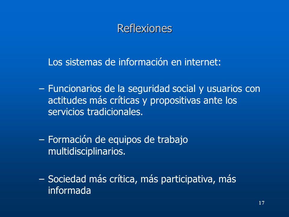 17 Reflexiones Los sistemas de información en internet: –Funcionarios de la seguridad social y usuarios con actitudes más críticas y propositivas ante