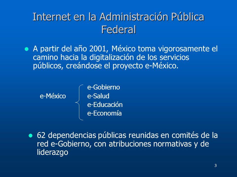 3 Internet en la Administración Pública Federal A partir del año 2001, México toma vigorosamente el camino hacia la digitalización de los servicios pú
