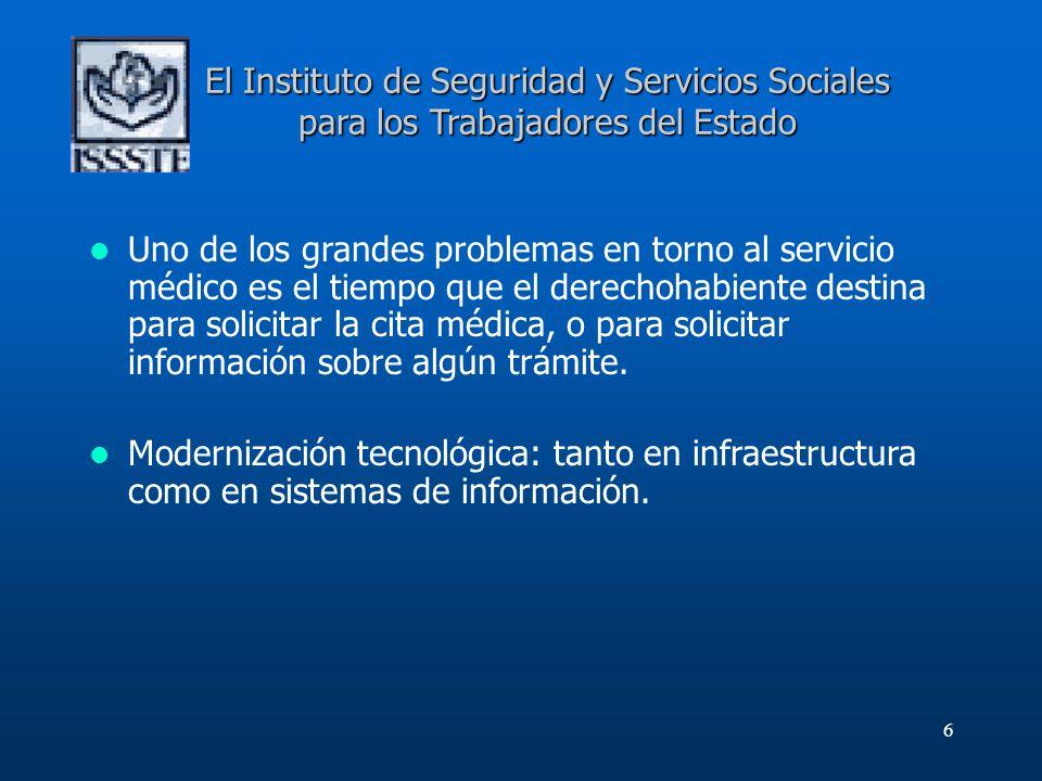 6 El Instituto de Seguridad y Servicios Sociales para los Trabajadores del Estado Uno de los grandes problemas en torno al servicio médico es el tiemp