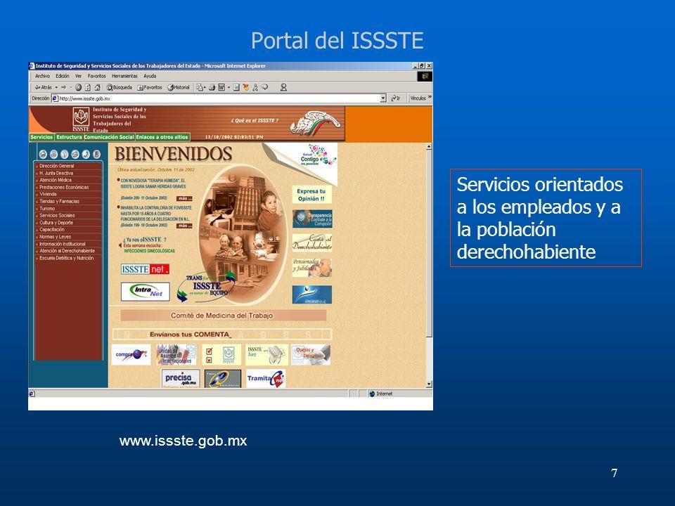 7 Portal del ISSSTE Servicios orientados a los empleados y a la población derechohabiente www.issste.gob.mx