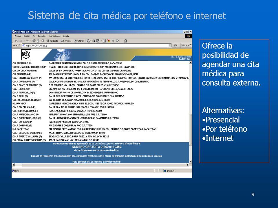 9 Sistema de c ita médica por teléfono e internet Ofrece la posibilidad de agendar una cita médica para consulta externa. Alternativas: Presencial Por