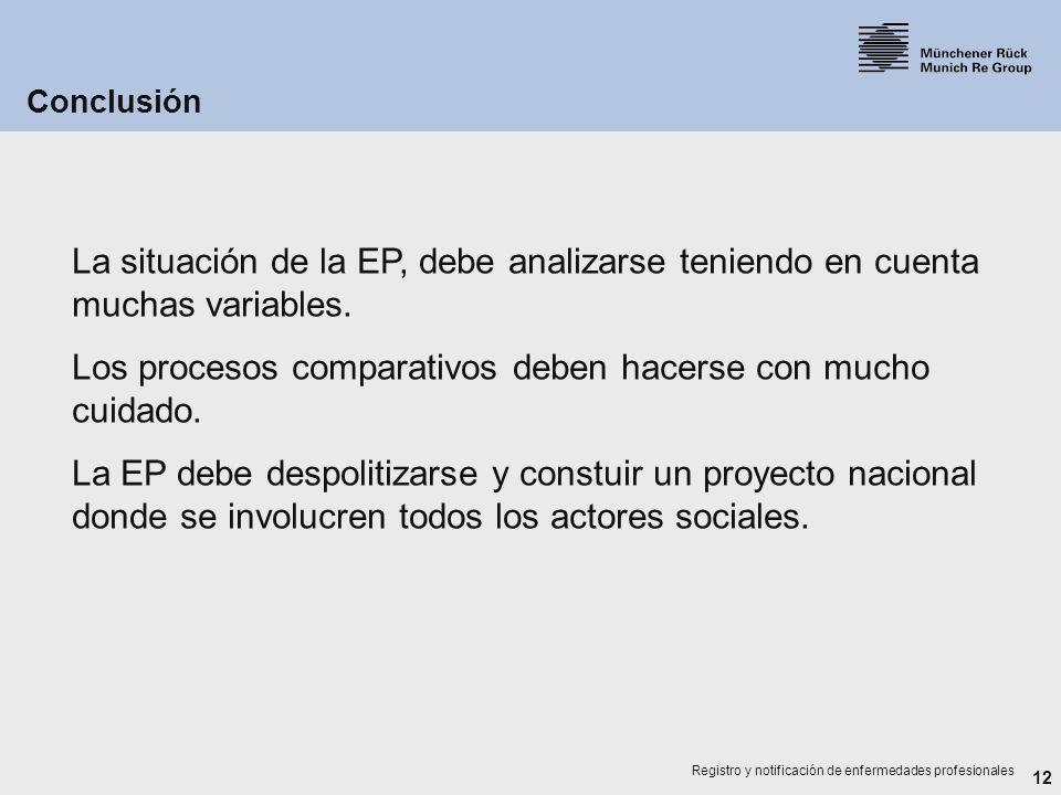 12 Registro y notificación de enfermedades profesionales La situación de la EP, debe analizarse teniendo en cuenta muchas variables. Los procesos comp