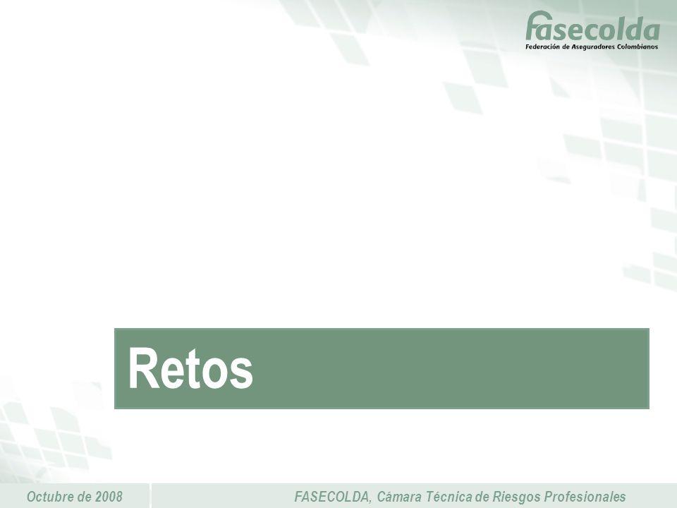 Octubre de 2008FASECOLDA, Cámara Técnica de Riesgos Profesionales Retos