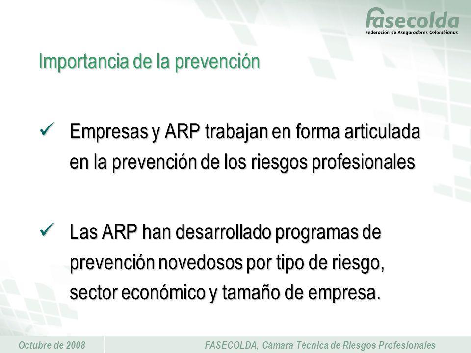 Octubre de 2008FASECOLDA, Cámara Técnica de Riesgos Profesionales Importancia de la prevención Empresas y ARP trabajan en forma articulada en la prevención de los riesgos profesionales Empresas y ARP trabajan en forma articulada en la prevención de los riesgos profesionales Las ARP han desarrollado programas de prevención novedosos por tipo de riesgo, sector económico y tamaño de empresa.