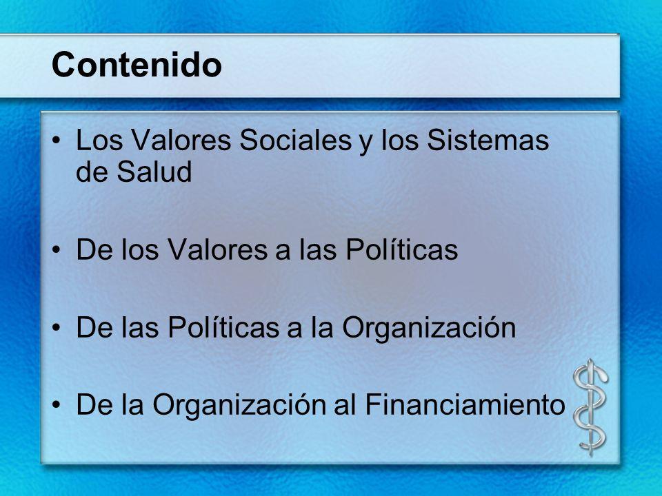 Contenido Los Valores Sociales y los Sistemas de Salud De los Valores a las Políticas De las Políticas a la Organización De la Organización al Financi