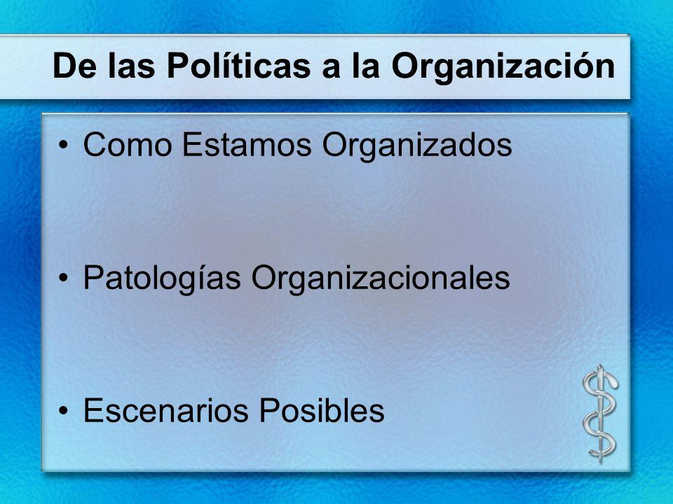 De las Políticas a la Organización Como Estamos Organizados Patologías Organizacionales Escenarios Posibles