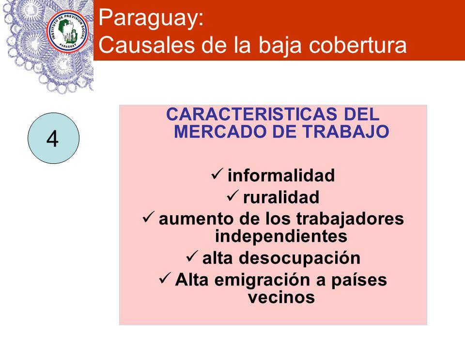 Paraguay: Causales de la baja cobertura CARACTERISTICAS DEL MERCADO DE TRABAJO informalidad ruralidad aumento de los trabajadores independientes alta