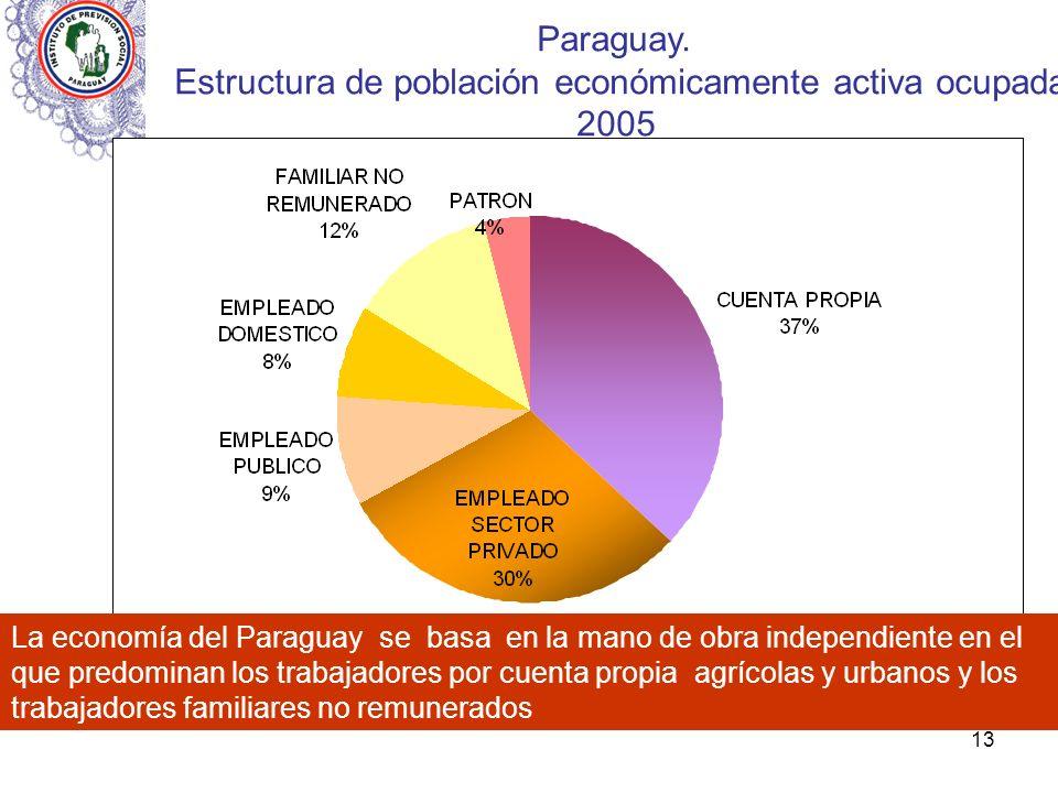 13 Paraguay. Estructura de población económicamente activa ocupada 2005 La economía del Paraguay se basa en la mano de obra independiente en el que pr