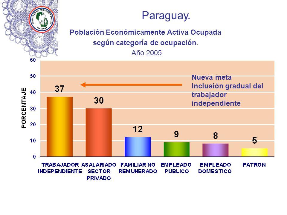 Paraguay. Población Económicamente Activa Ocupada según categoría de ocupación. Año 2005 Nueva meta Inclusión gradual del trabajador independiente