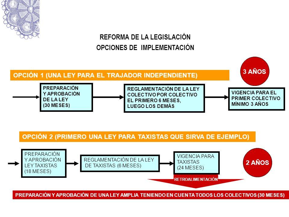 REFORMA DE LA LEGISLACIÓN OPCIONES DE IMPLEMENTACIÓN OPCIÓN 1 (UNA LEY PARA EL TRAJADOR INDEPENDIENTE) PREPARACIÓN Y APROBACIÓN DE LA LEY (30 MESES) R