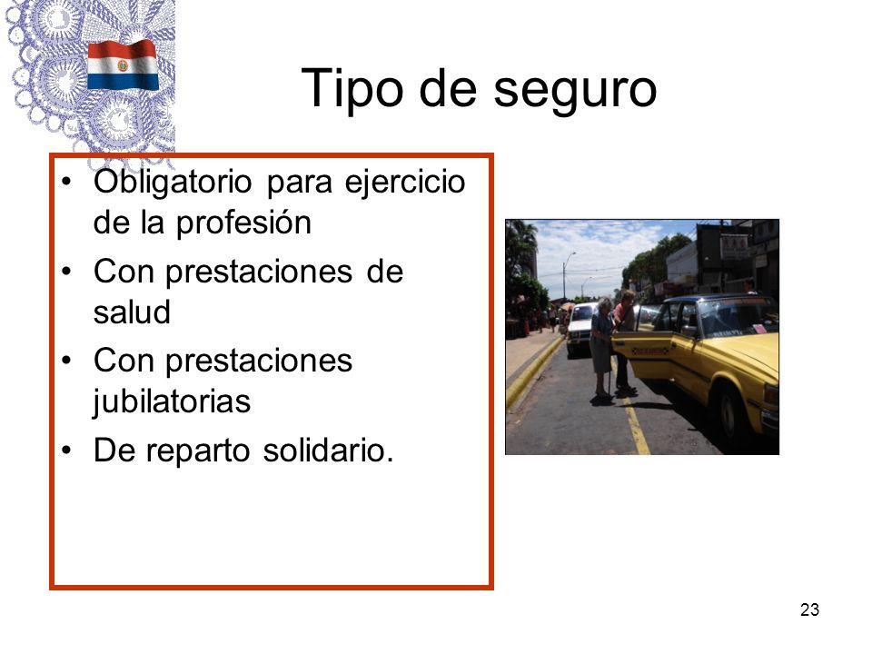 23 Tipo de seguro Obligatorio para ejercicio de la profesión Con prestaciones de salud Con prestaciones jubilatorias De reparto solidario.