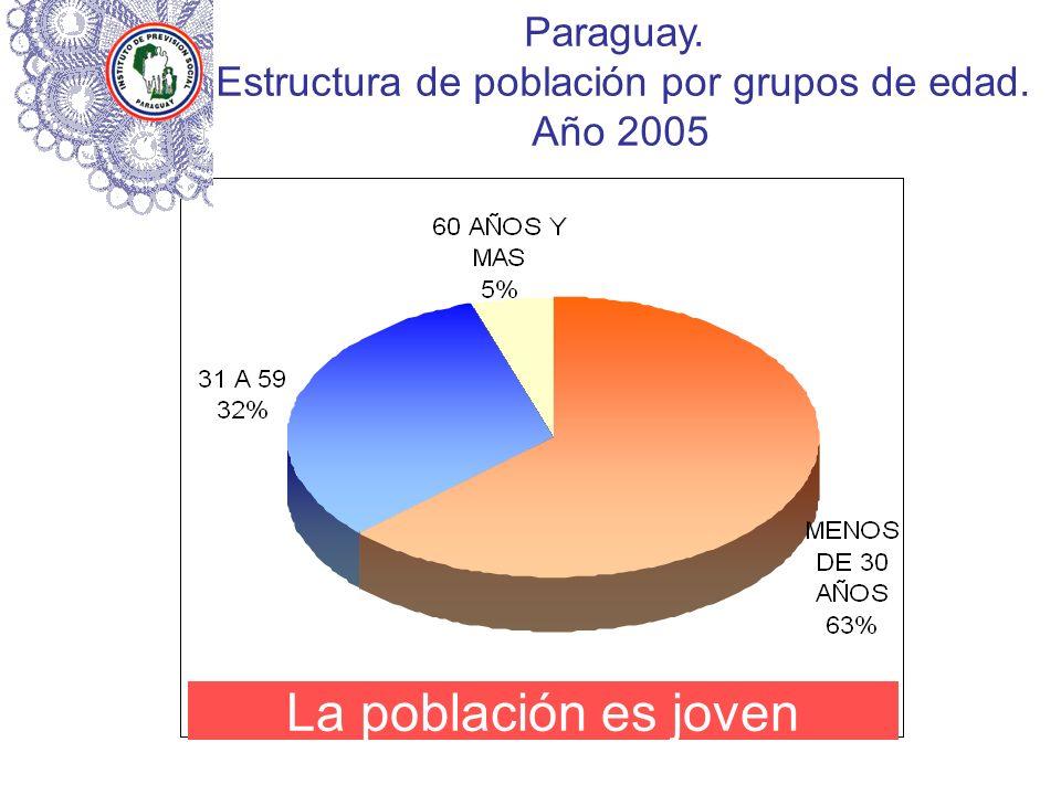 Paraguay. Estructura de población por grupos de edad. Año 2005 La población es joven
