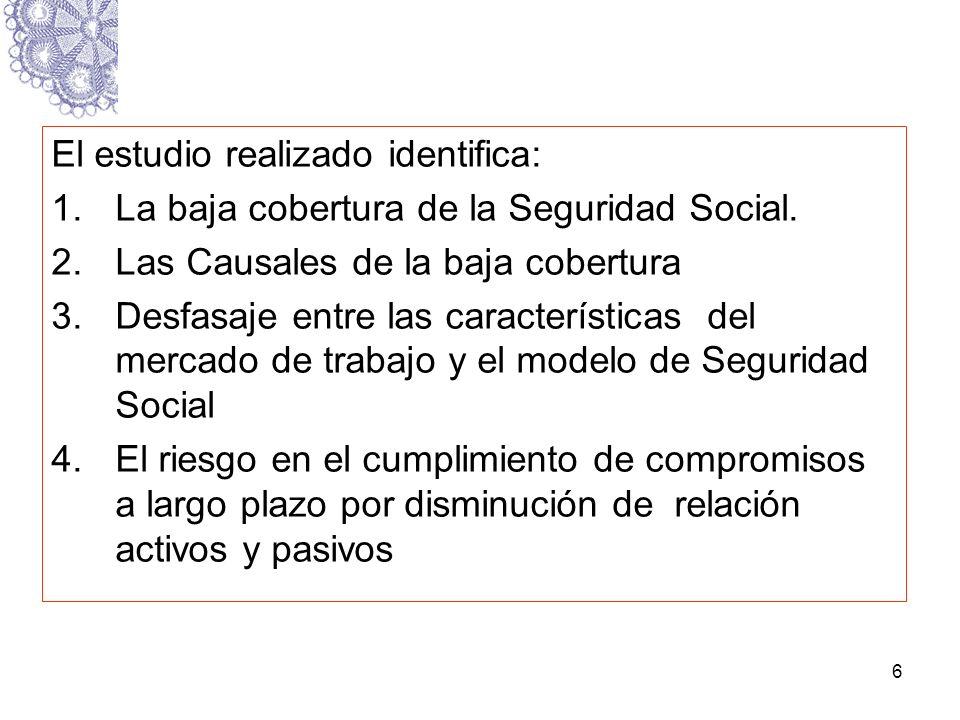 6 El estudio realizado identifica: 1.La baja cobertura de la Seguridad Social. 2.Las Causales de la baja cobertura 3.Desfasaje entre las característic