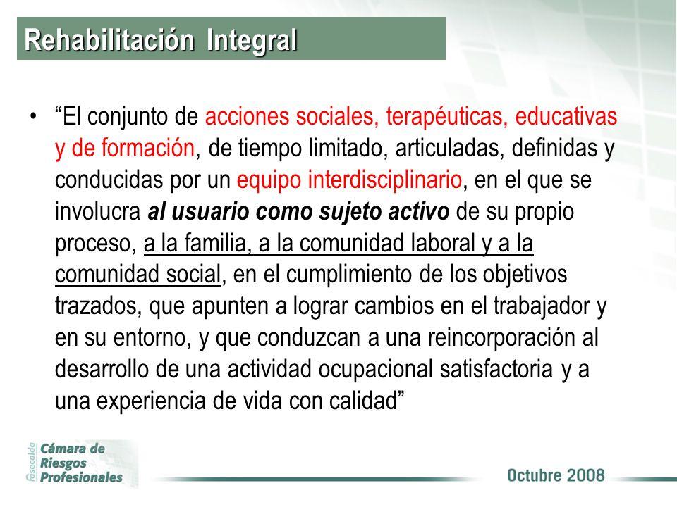 Rehabilitación Integral El conjunto de acciones sociales, terapéuticas, educativas y de formación, de tiempo limitado, articuladas, definidas y conduc