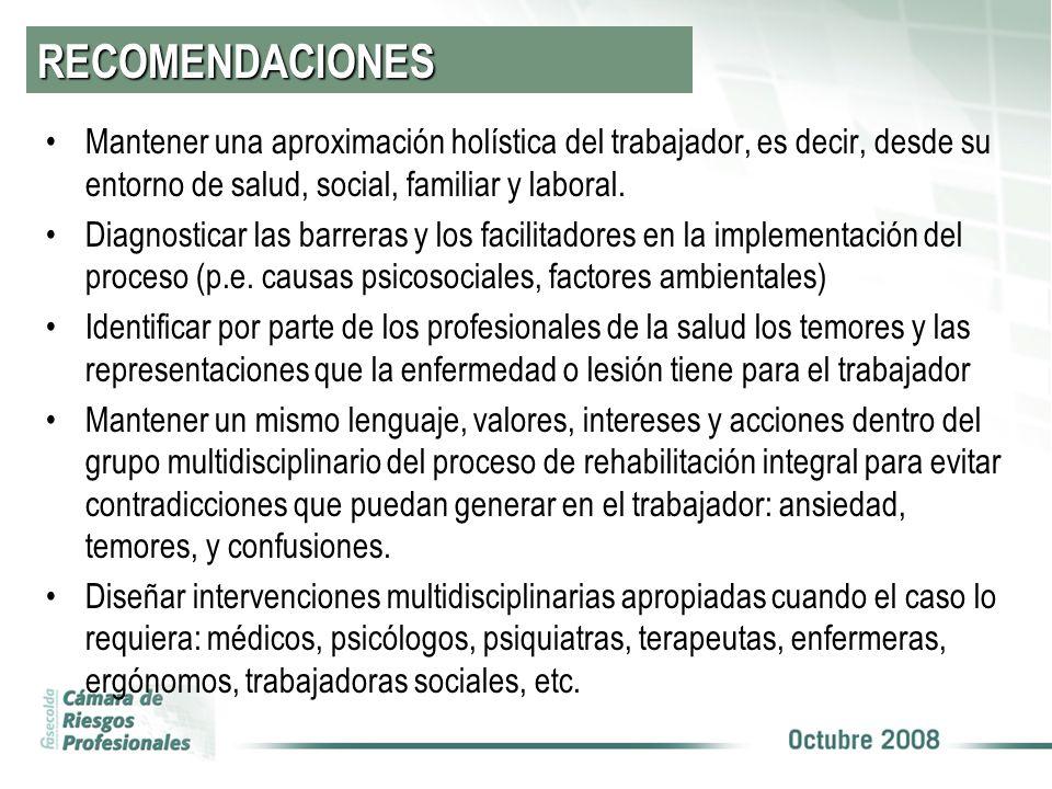 RECOMENDACIONES Mantener una aproximación holística del trabajador, es decir, desde su entorno de salud, social, familiar y laboral. Diagnosticar las
