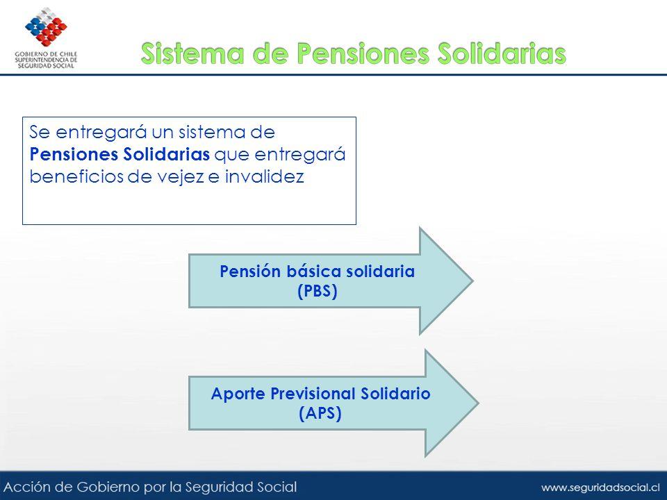 Se entregará un sistema de Pensiones Solidarias que entregará beneficios de vejez e invalidez Pensión básica solidaria (PBS) Aporte Previsional Solida