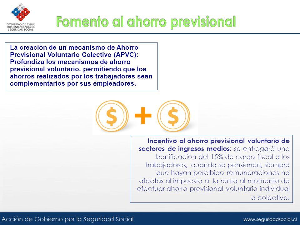 La creación de un mecanismo de Ahorro Previsional Voluntario Colectivo (APVC): Profundiza los mecanismos de ahorro previsional voluntario, permitiendo