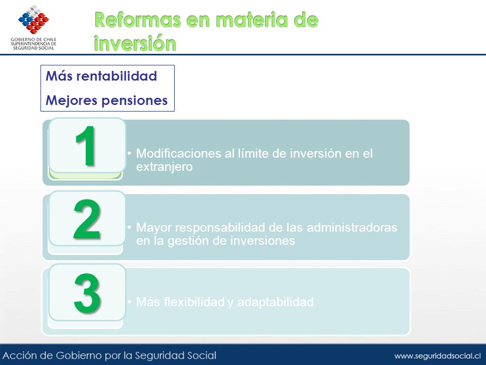 Más rentabilidad Mejores pensiones Modificaciones al límite de inversión en el extranjero Mayor responsabilidad de las administradoras en la gestión d