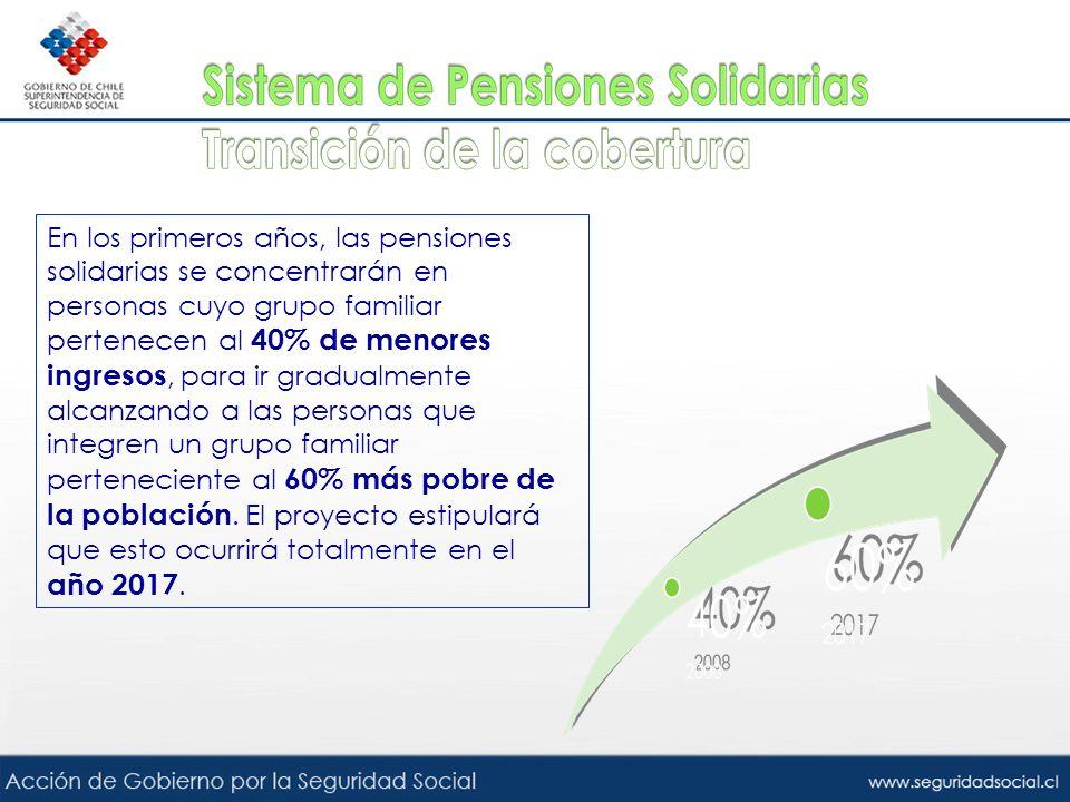 En los primeros años, las pensiones solidarias se concentrarán en personas cuyo grupo familiar pertenecen al 40% de menores ingresos, para ir gradualm