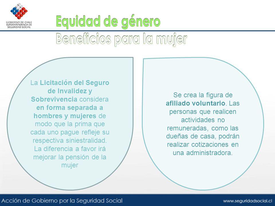 La Licitación del Seguro de Invalidez y Sobrevivencia considera en forma separada a hombres y mujeres de modo que la prima que cada uno pague refleje