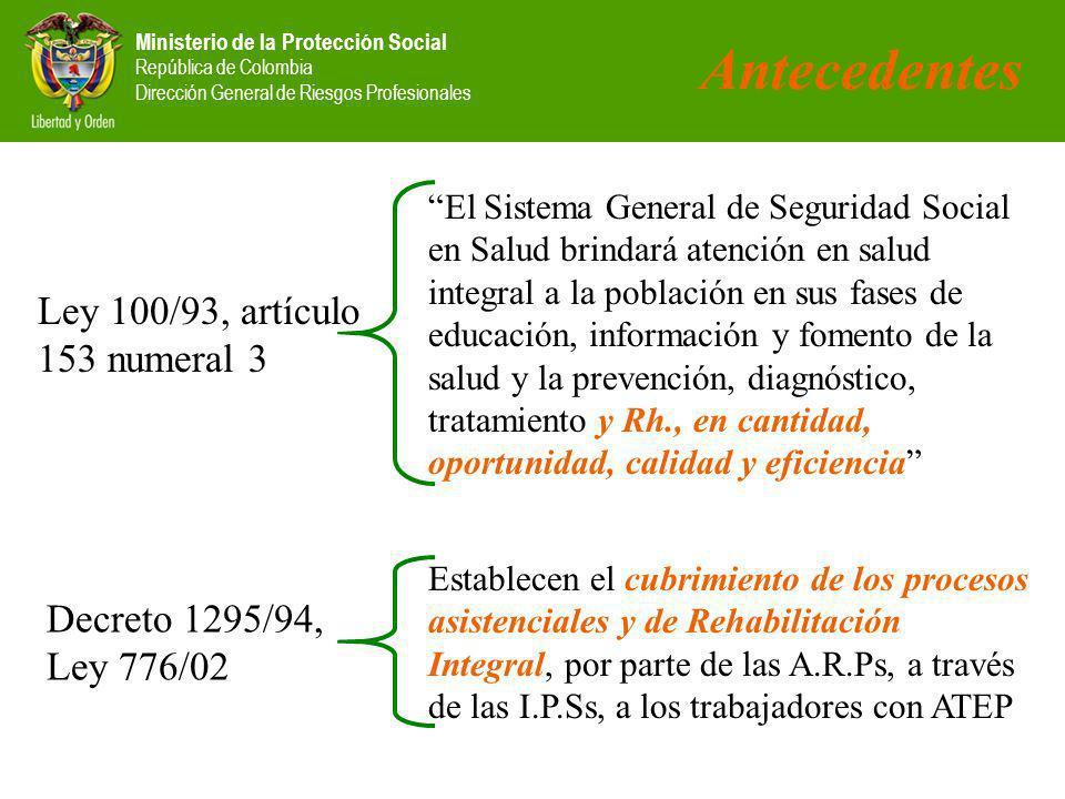 Ministerio de la Protección Social República de Colombia Dirección General de Riesgos Profesionales Decreto 1295/94, Ley 776/02 Establecen el cubrimiento de los procesos asistenciales y de Rehabilitación Integral, por parte de las A.R.Ps, a través de las I.P.Ss, a los trabajadores con ATEP Ley 100/93, artículo 153 numeral 3 El Sistema General de Seguridad Social en Salud brindará atención en salud integral a la población en sus fases de educación, información y fomento de la salud y la prevención, diagnóstico, tratamiento y Rh., en cantidad, oportunidad, calidad y eficiencia Antecedentes